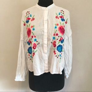 Zara Sheer Floral Embroidered Long Sleeve Blouse